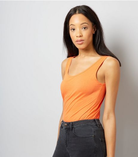 Tall Bright Orange Scoop Neck Vest | New Look