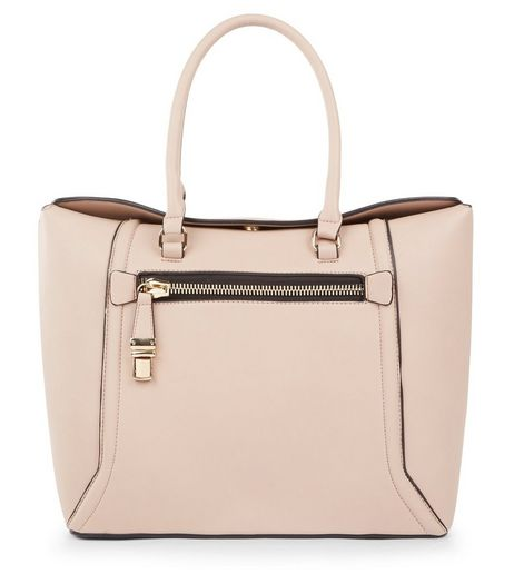 Nude Pink Zip Pocket Front Tote Bag | New Look