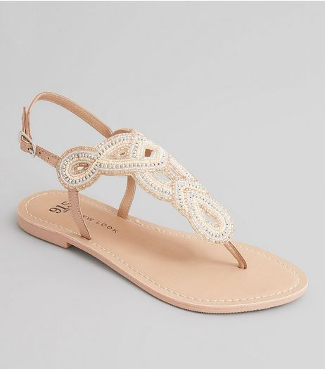 Teens Pink Embellished Bead Toe Post Sandals | New Look
