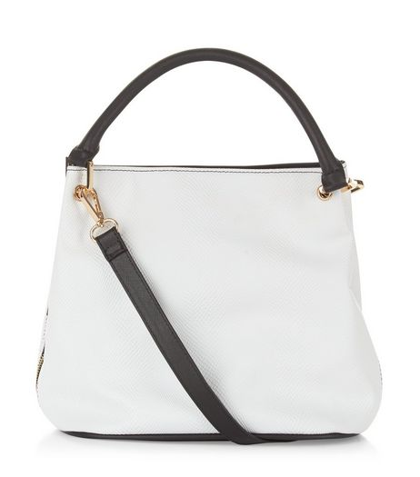 White Snakeskin Texture Mini Duffle Bag | New Look