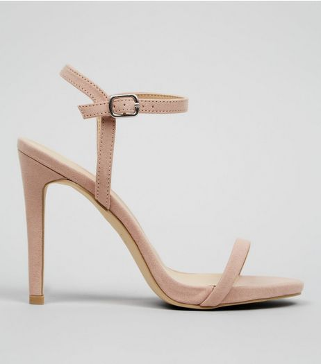 Nude Pink Suedette Ankle Strap Heeled Sandals | New Look