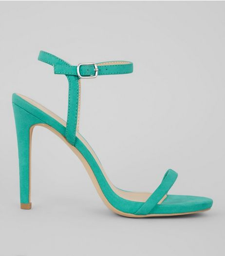 Green Suedette Ankle Strap Heeled Sandals | New Look