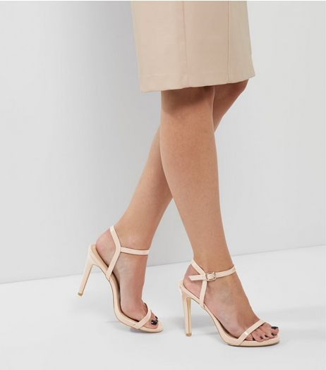 Nude Patent Ankle Strap Heeled Sandals | New Look