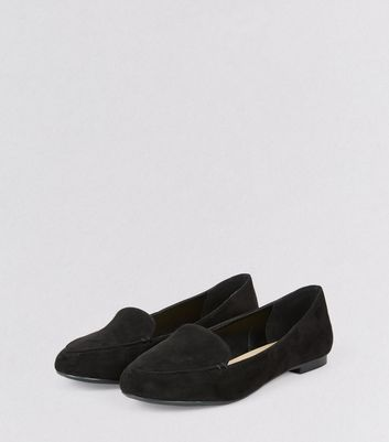 Black Suedette Tab Slippers