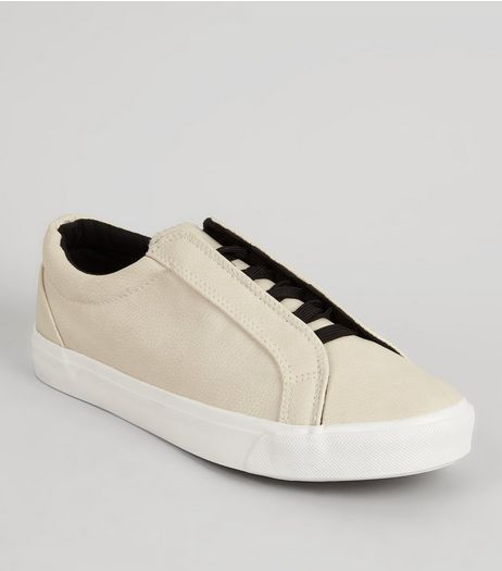 Cream Lace Up Trainers | New Look