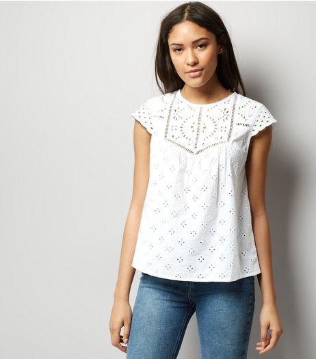 White Cut Out Trim Cap Sleeve Top  | New Look