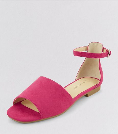 Wide Fit Pink Suedette Wide Strap Sandals | New Look