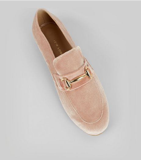 Pink Velvet Metal Bar Loafers | New Look