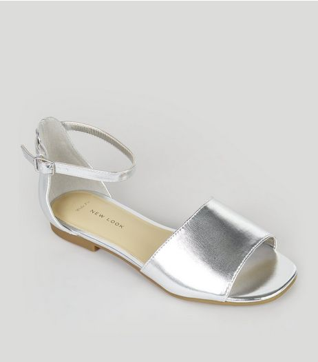 Wide Fit Silver Ankle Strap Sandals | New Look