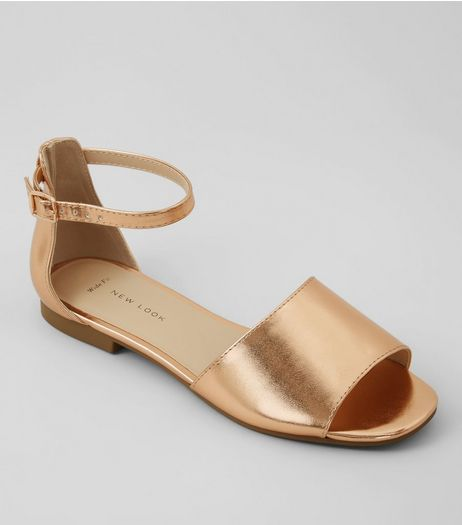 Wide Fit Rose Gold Ankle Strap Flat Sandals  | New Look