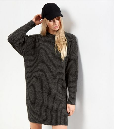 Grey Ribbed Balloon Sleeve Jumper Dress | New Look