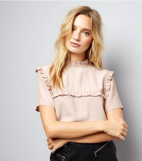 Shell Pink Frill Trim Short Sleeve Top  | New Look