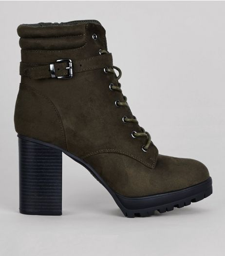 Khaki Lace Up Heeled Boots | New Look