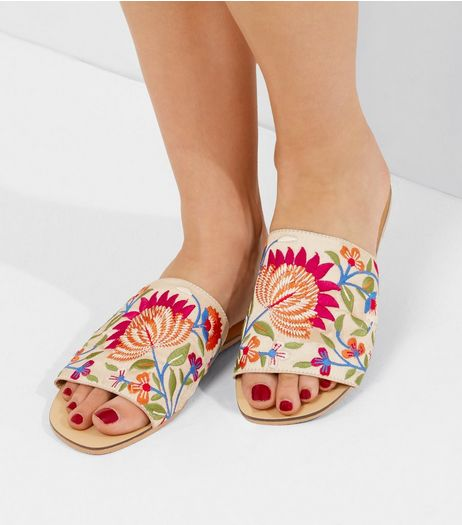 White Floral Embroidered Mules | New Look