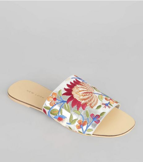 Silver Floral Embroidered Mules | New Look