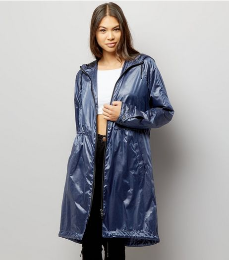 Blue Metallic Lightweight Parka | New Look