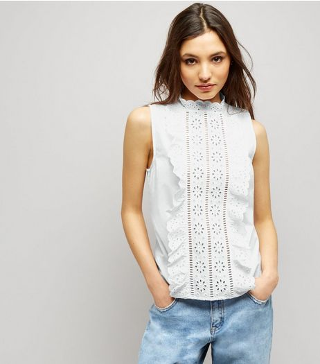 White Cut Out Frill Trim Sleeveless Top  | New Look