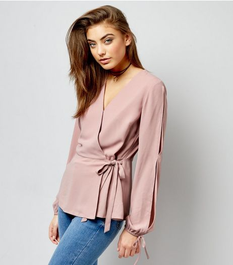 Shell Pink Tie Long Sleeve Wrap Front Top  | New Look