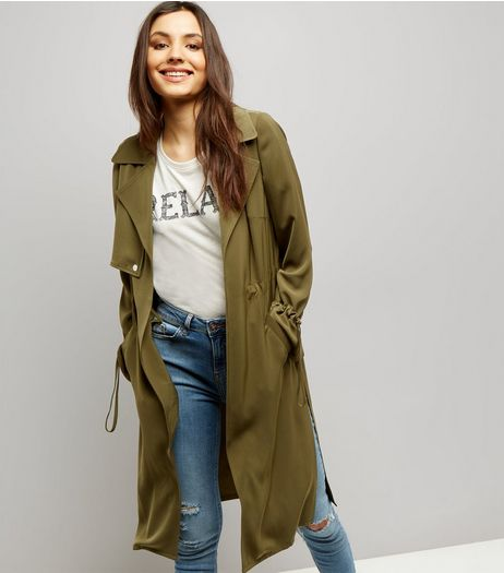 Khaki Flared Sleeve Split Side Draped Coat  | New Look