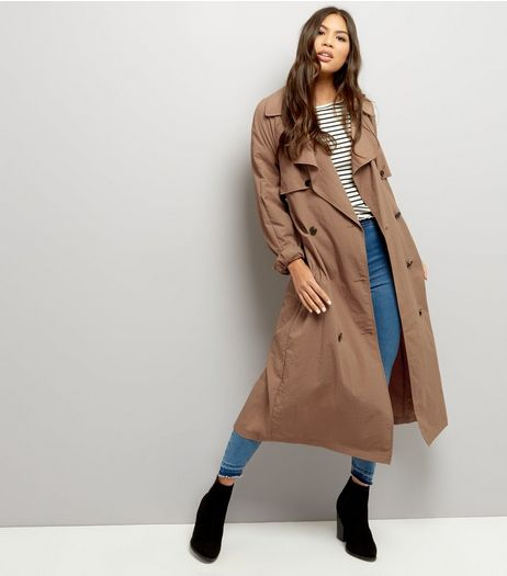 Brown Button Front Belted Trench Coat  | New Look