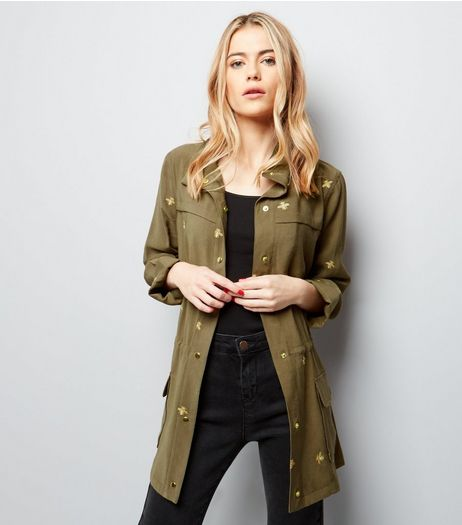 Khaki Bee Embroidered Utility Jacket | New Look