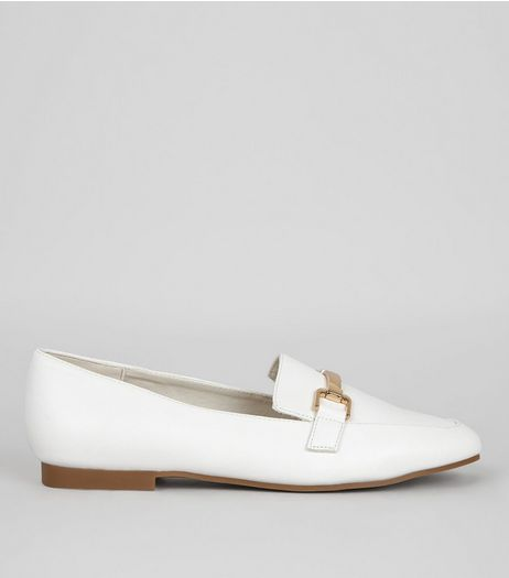 Wide Fit White Metal Bar Loafers | New Look