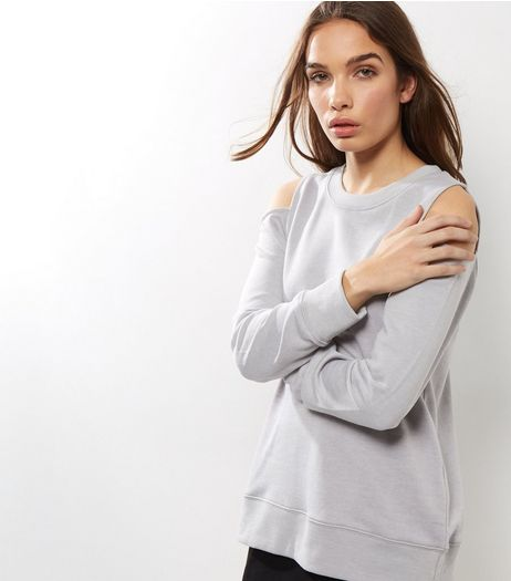 Pale Grey Cold Shoulder Long Sleeve Sweater  | New Look