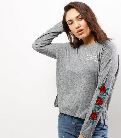 Grey Floral Embroided Sleeve Top | New Look