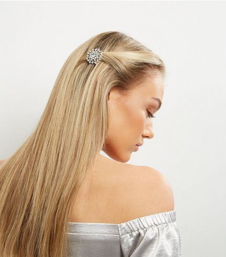 2 Pack Silver Crystal Hair Clips | New Look