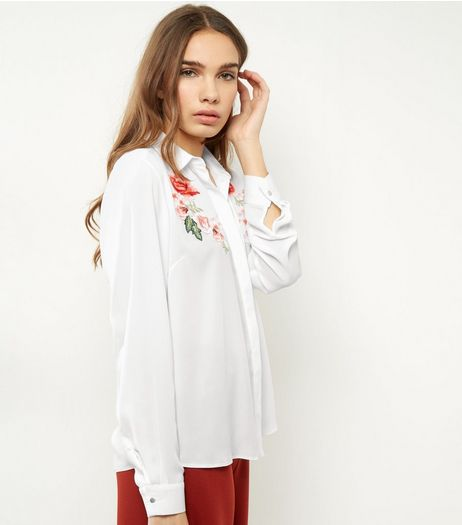 White Floral Embroidered Shirt | New Look
