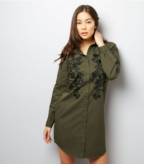 Khaki Floral Embroidered Long Sleeve Shirt Dress | New Look