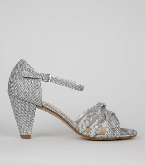 Teens Silver Textured Strappy Cone Heeled Sandals | New Look