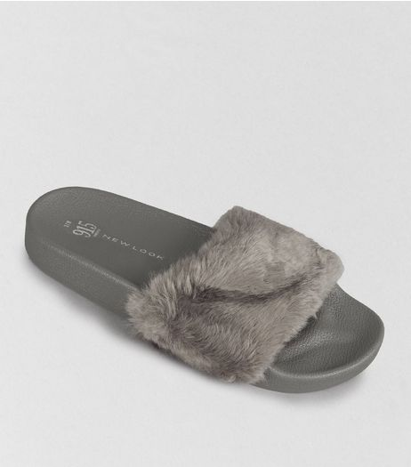 Teens Grey Faux Fur Sliders | New Look