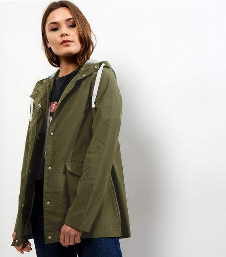 Khaki Button Trim Hooded Rain Coat  | New Look