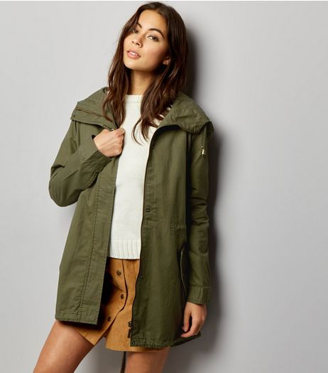 Khaki Floral Embroidered Back Parka  | New Look