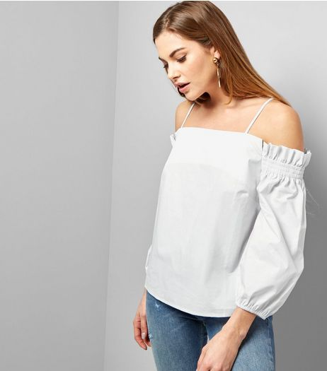 White Ruched Bardot Neck Long Sleeve Top  | New Look