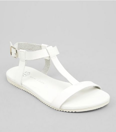 Teens White T Bar Sandals | New Look