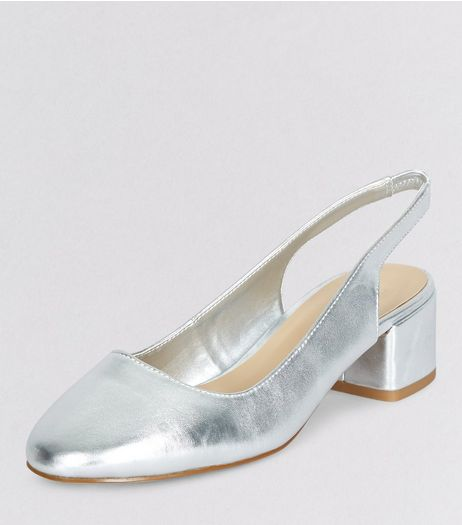Teens Silver Slingback Block Heels | New Look