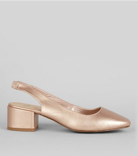 Teens Rose Gold Sling Back Heels | New Look