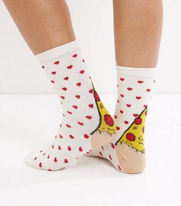 Cream Pizza and Heart Print Socks