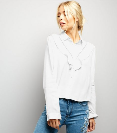 White Chevron Frill Trim Long Sleeve Shirt  | New Look