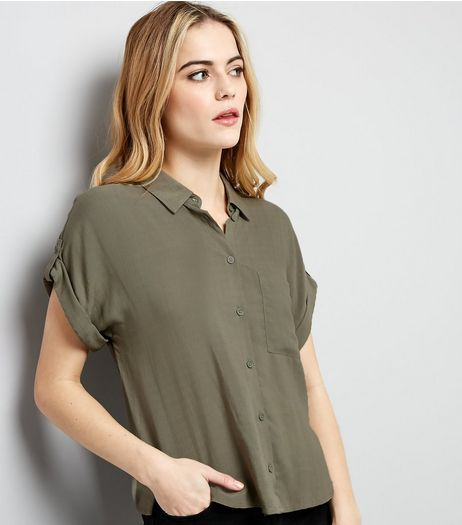 Khaki Rolled Sleeve Cropped Shirt | New Look