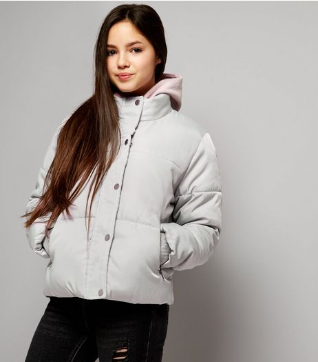 Teens Grey Padded Puffer Jacket  | New Look
