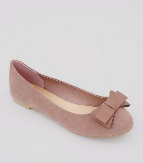 Wide Fit Pink Suedette Bow Ballerina Pumps | New Look