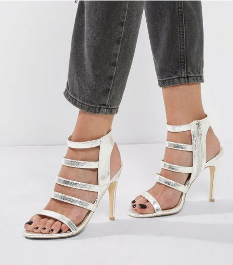Silver Textured Multi Strap Heeled Sandals | New Look