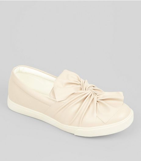 Wide Fit Nude Bow Front Slip On Trainers | New Look