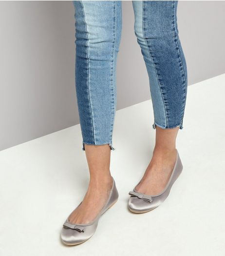 Wide Fit Grey Sateen Ballet Pumps | New Look