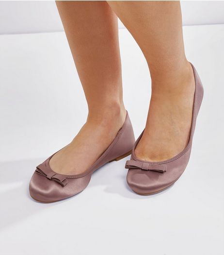 Wide Fit Purple Sateen Ballet Pumps | New Look
