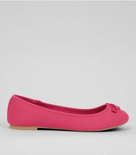Wide Fit Bright Pink Satin Ballet Pumps | New Look