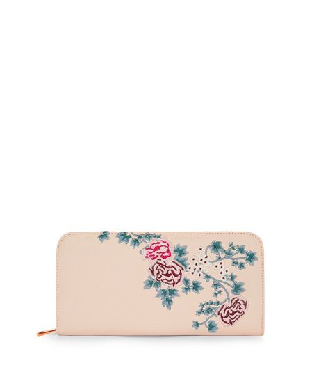 Nude Floral Embroidered Zip Around Purse | New Look